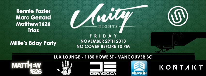 Kontakt Records - Unity Nights Nov 29th Lux Lounge